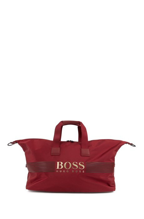 Logo holdall in structured nylon with detachable strap, Dark Red
