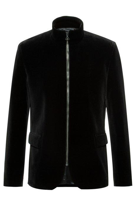 Regular-fit jacket in cotton velvet with front zip, Black