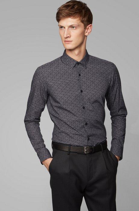 Chemise Slim Fit en coton à l'imprimé exclusif, Noir