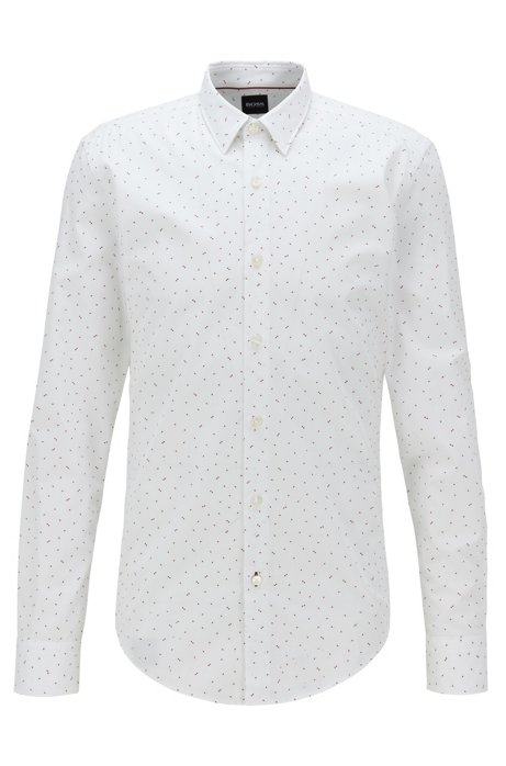 Slim-fit shirt in cotton with exclusive print, White
