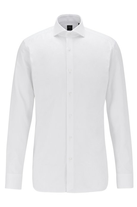 Slim-fit shirt in Italian Oxford cotton, White
