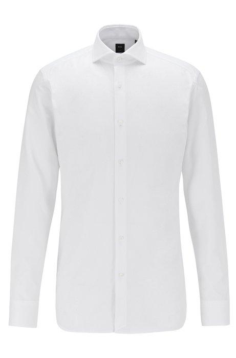 Slim-Fit Hemd aus italienischer Oxford-Baumwolle, Weiß