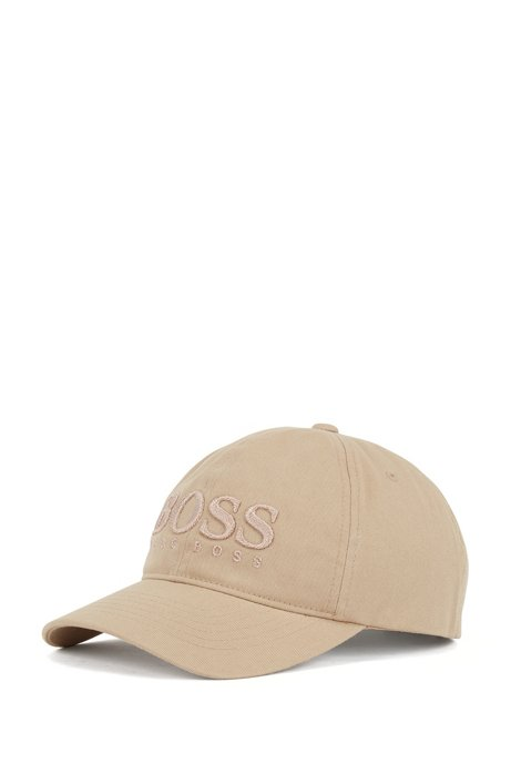 Cotton-twill cap with logo embroidery, Beige