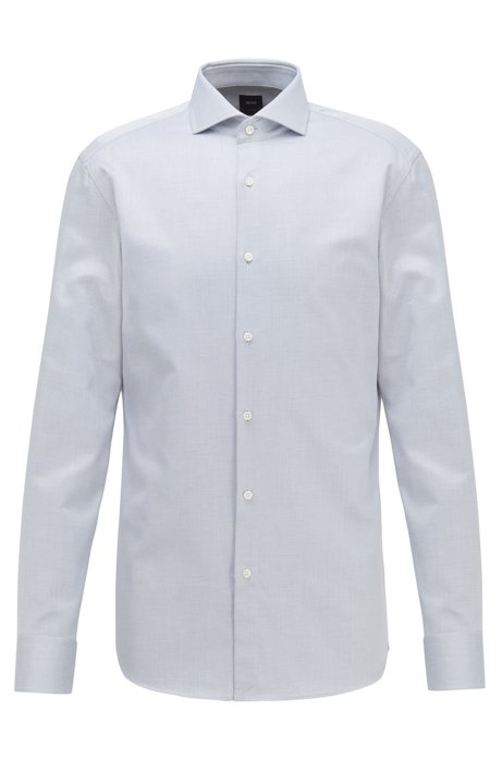 Slim-fit shirt in Italian micro-structured cotton twill, Dark Blue
