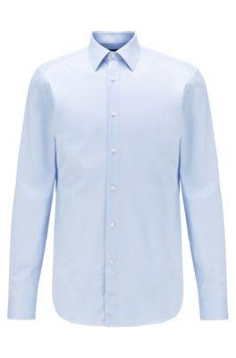 Camisa slim fit en sarga de algodón fabricada en Italia, Celeste