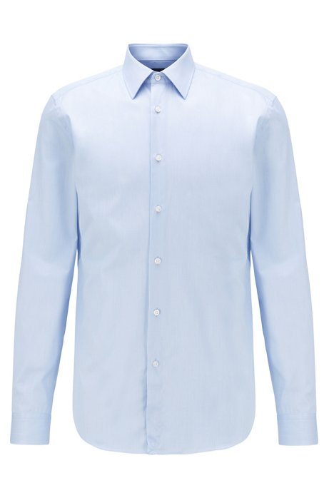 Slim-fit shirt in Italian-made cotton twill, Light Blue
