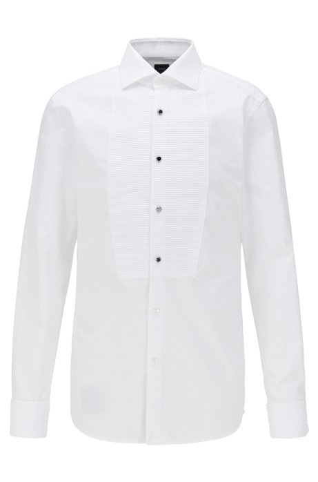 Slim-fit evening shirt in cotton with pleated bib, White