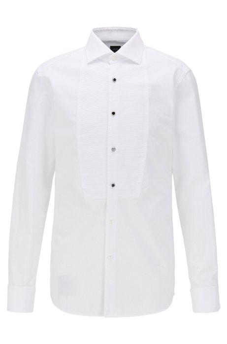 Camisa de noche slim fit en algodón con pechera plisada, Blanco