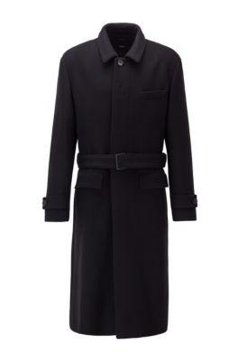 Abrigo relaxed fit en lana virgen con cinturón desmontable, Negro