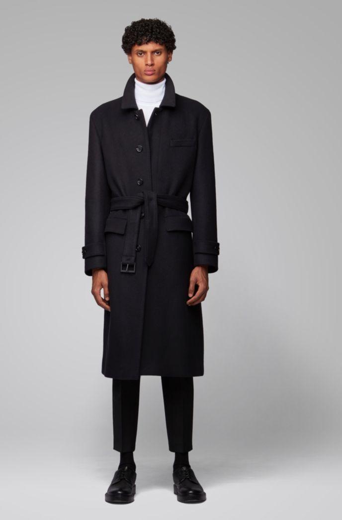Relaxed-Fit Mantel aus Schurwolle mit abnehmbarem Gürtel