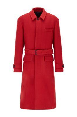 Relaxed-fit mantel van scheerwol met afneembare ceintuur, Rood