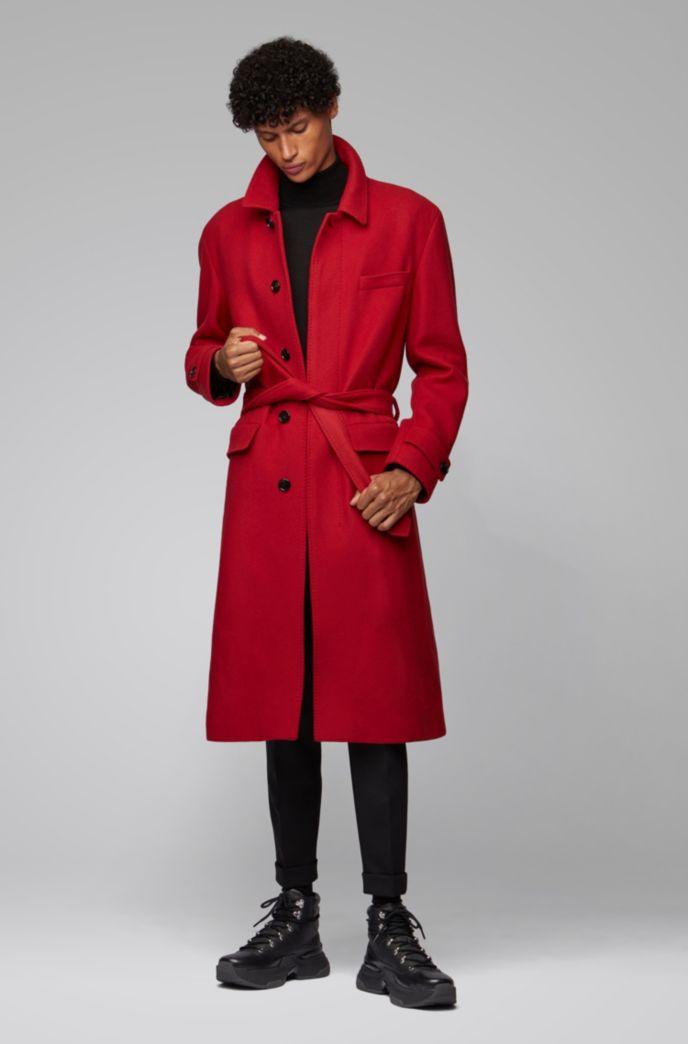 Relaxed-fit mantel van scheerwol met afneembare ceintuur