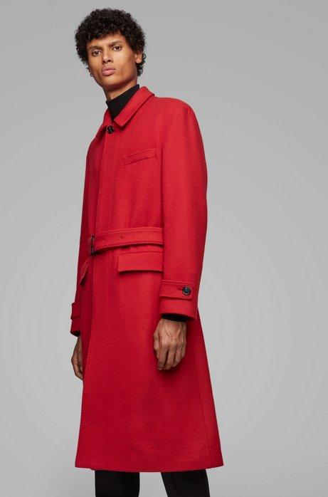 Relaxed-Fit Mantel aus Schurwolle mit abnehmbarem Gürtel, Rot