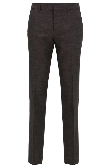 Slim-fit trousers in a melange virgin-wool blend, Dark Grey