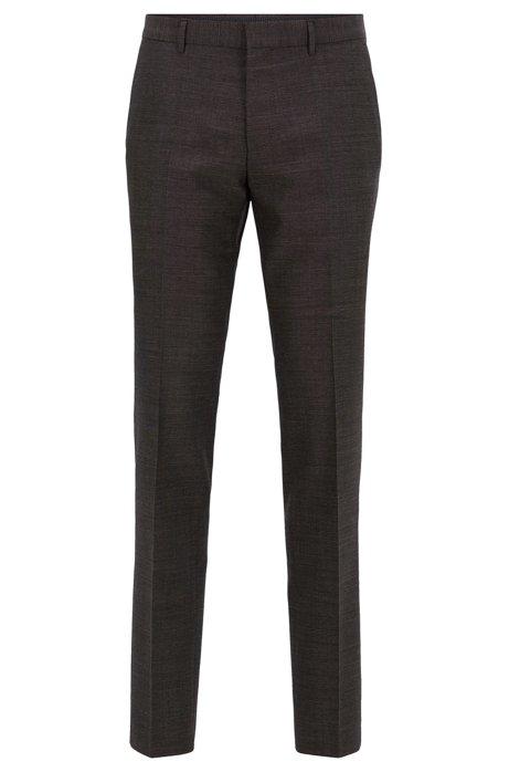 Pantalones slim fit de mezcla de lana virgen de acabado jaspeado, Gris oscuro