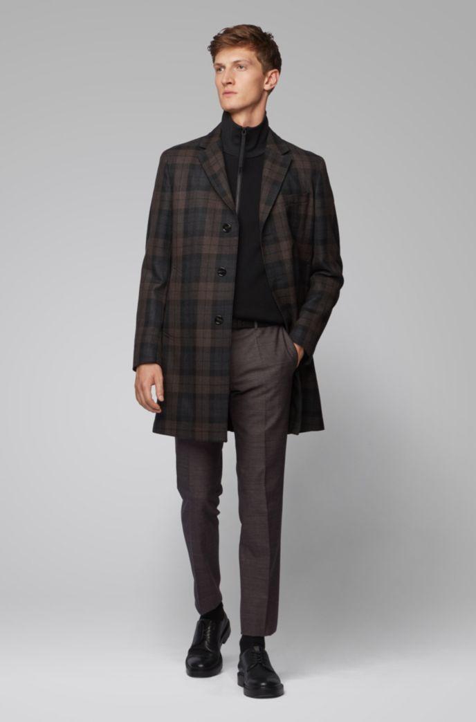 Slim-Fit Hose aus melierter Schurwolle mit Baumwolle