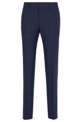 Pantalones slim fit de mezcla de lana virgen de acabado jaspeado, Azul oscuro