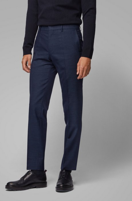 Slim-fit trousers in a melange virgin-wool blend, Dark Blue