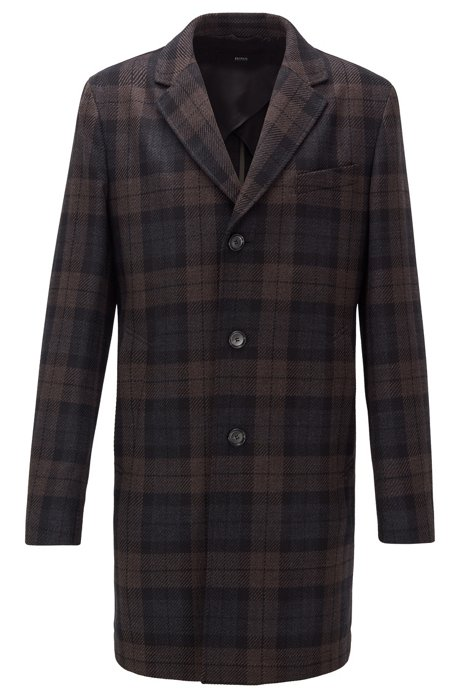 Slim-fit checked coat in water-repellent fabric, Dark Brown