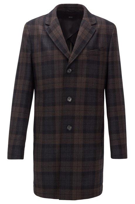 Manteau à carreaux Slim Fit en tissu déperlant, Marron foncé