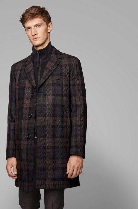 Manteau à carreaux Slim Fit en tissu déperlant, Fantaisie
