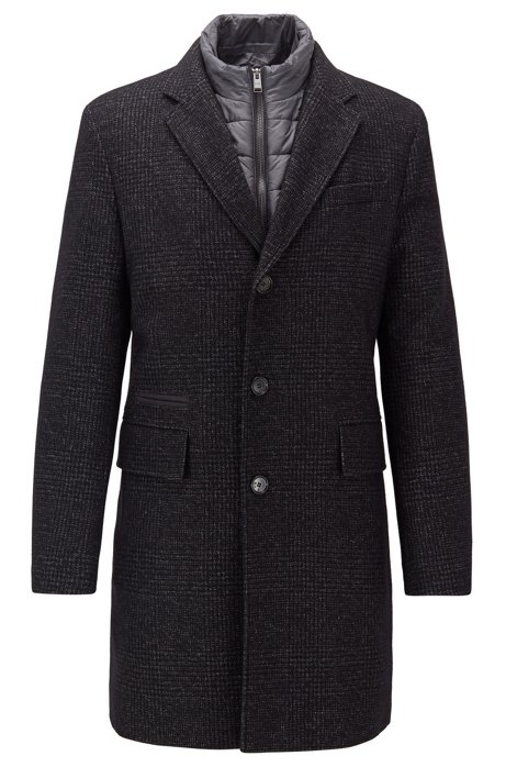Slim-fit wool-blend coat with detachable quilted bib, Dark Grey