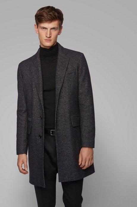 Slim-fit wool-blend coat with detachable quilted bib, Dark Grey