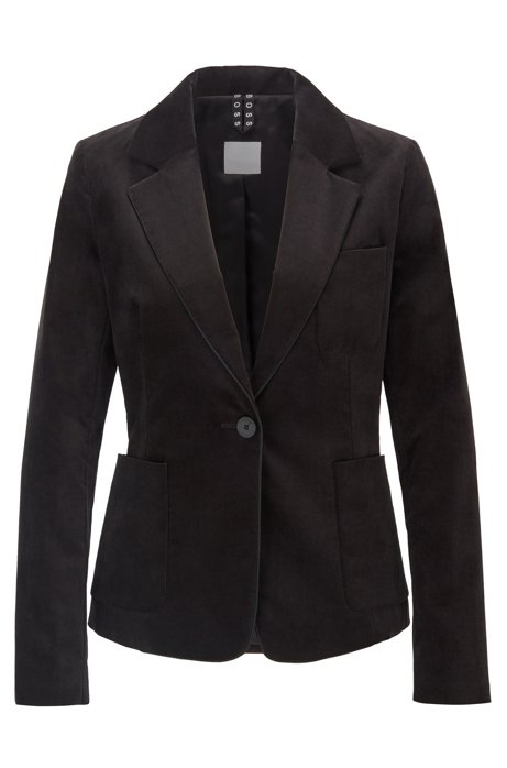 Regular-fit jacket in stretch-cotton velvet, Black