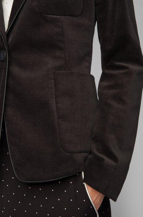Regular-fit blazer van fluweel van stretchkatoen, Zwart