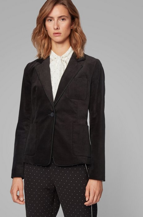 Regular-Fit Samt-Blazer aus Stretch-Baumwolle, Schwarz