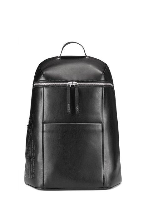 Rucksack aus Nylon mit Reißverschluss und Print aus der Kollektion, Schwarz