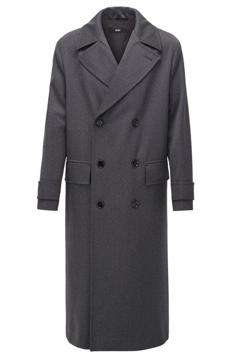 Zweireihiger Relaxed-Fit Mantel aus Schurwolle, Grau
