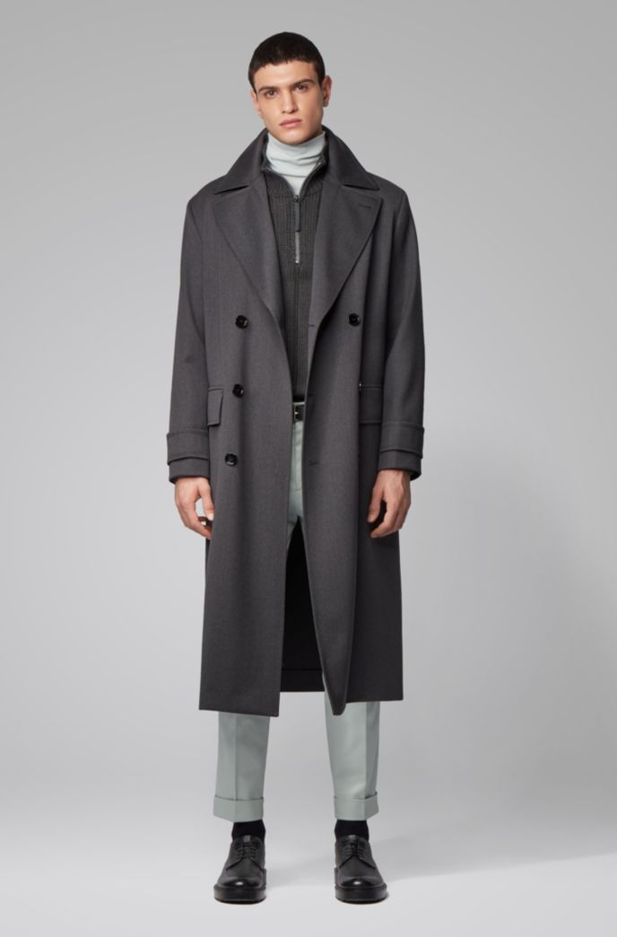 Relaxed-fit virgin-wool coat with double-breasted closure