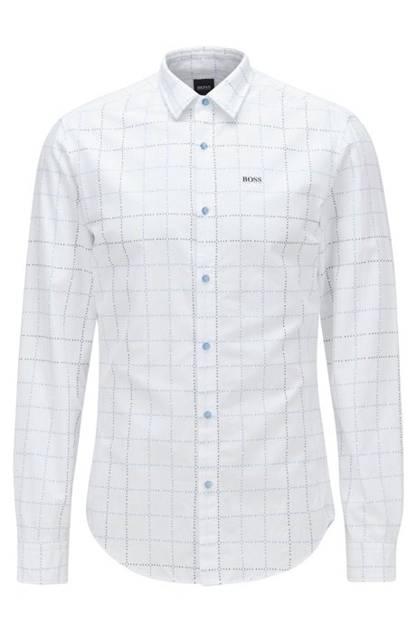 Slim-fit shirt in checked cotton with logo, Blue
