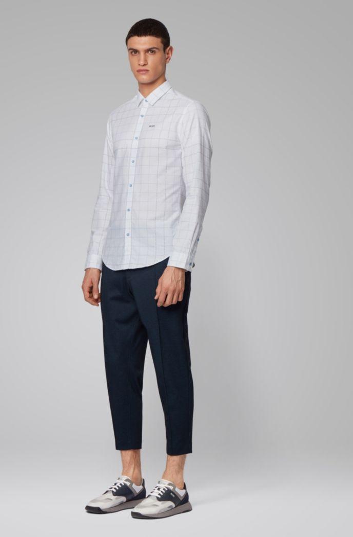 Camisa slim fit de algodón a cuadros con logo