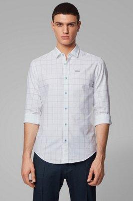 Camisa slim fit de algodón a cuadros con logo, Azul