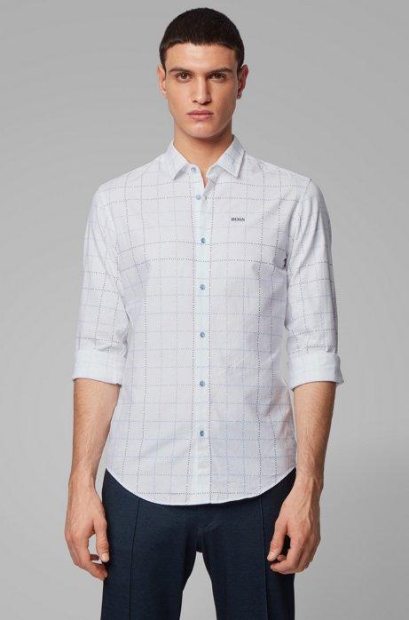 Kariertes Slim-Fit Hemd aus Baumwolle mit Logo, Blau