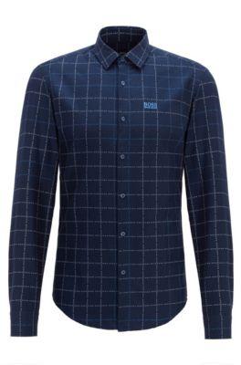 Slim-fit overhemd van geruite katoen met logo, Donkerblauw
