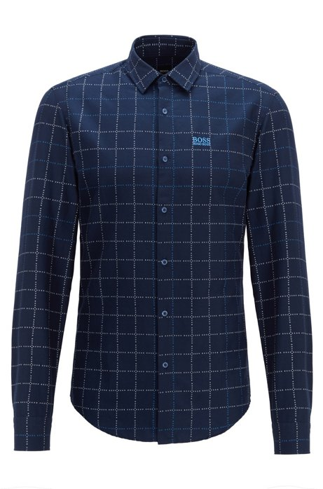 Slim-fit shirt in checked cotton with logo, Dark Blue