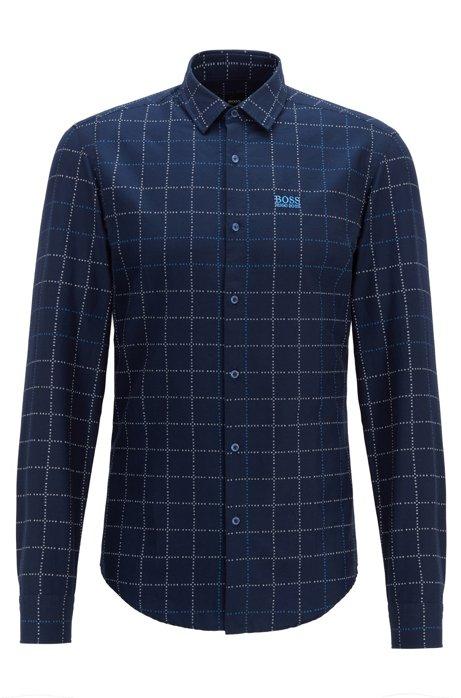 Kariertes Slim-Fit Hemd aus Baumwolle mit Logo, Dunkelblau