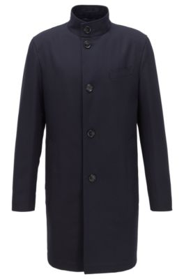 Abrigo formal slim fit en algodón repelente al agua, Azul oscuro