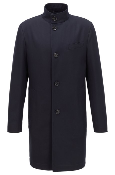 Cappotto formale slim fit in cotone idrorepellente, Blu scuro