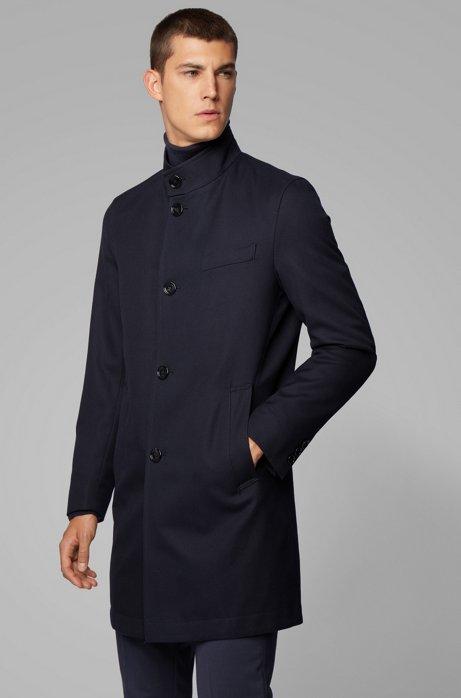 Slim-Fit Mantel aus wasserabweisender Baumwolle, Dunkelblau