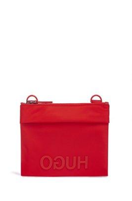 Nylon gabardine envelope bag with contrast logo, Red