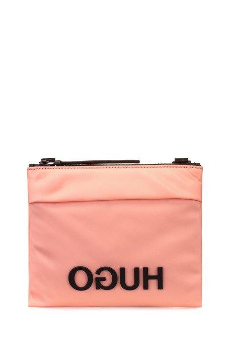 Umhängetasche aus Nylon-Gabardine mit Kontrast-Logo, Pink