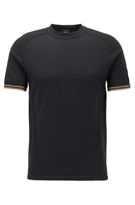 Regular-fit T-shirt with body-mapping mesh, Black