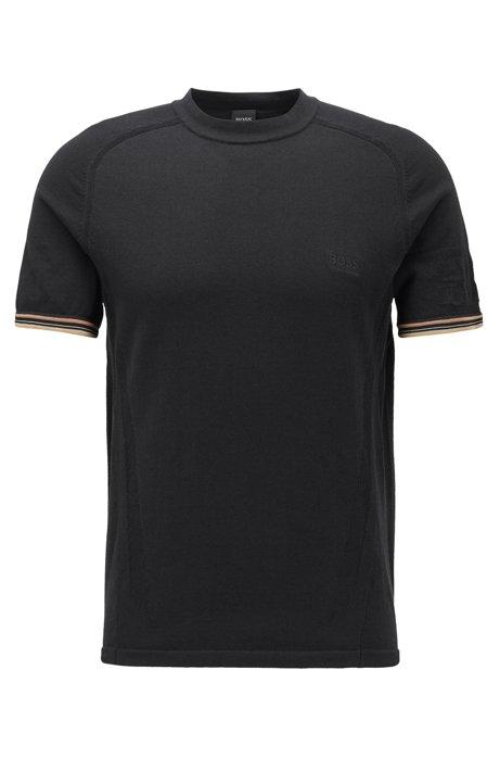Regular-fit T-shirt met strategisch geplaatste mesh panelen, Zwart