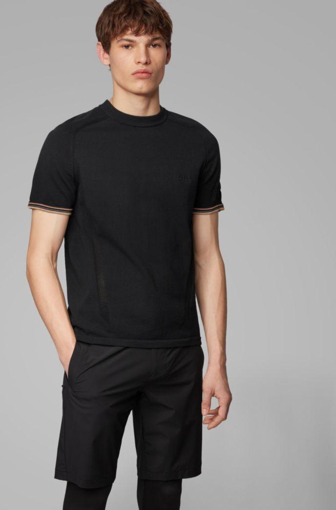 T-Shirt aus Baumwoll-Mix mit Mesh-Bahnen