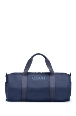 Nylon gabardine holdall with tonal logo, Dark Blue