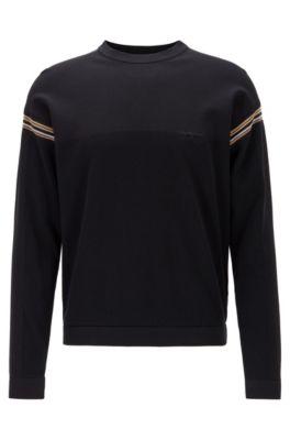 Pullover aus Baumwoll-Mix mit Streifen-Details, Schwarz